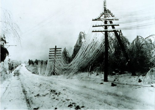 Old Power Lines in an Ice Storm (stock photo)